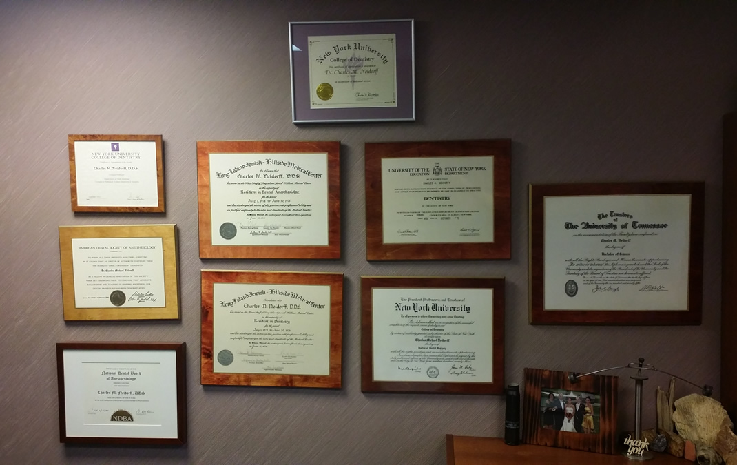 Dr Neidorf Wall of Certificates
